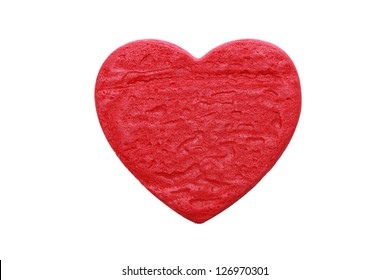 isolated red heart cookie in white background