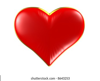 Isolated red heart with gold edging on white background.