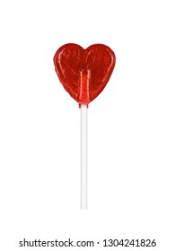 Isolated, red, heart-shaped lollypop. Valentine's day, love symbol.