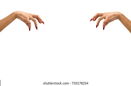 isolated Red manicure hand