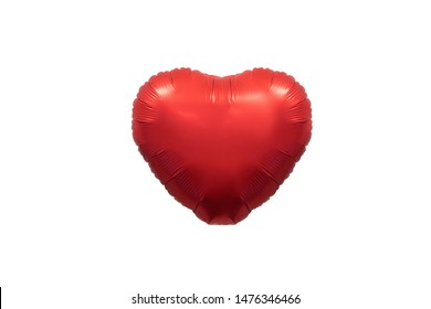 Isolated red metallic heart balloon on white background for love concept