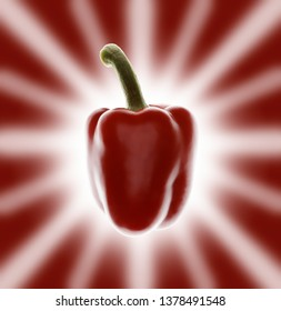 isolated red pepper on a textured red background with a star like halo effect/flash behind it