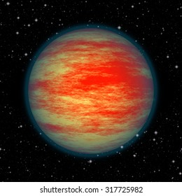 Isolated red planet in dark space