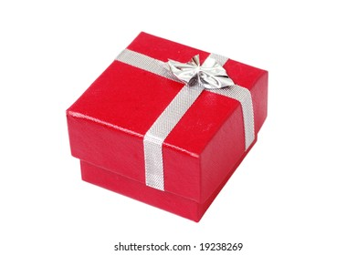 Isolated red present box(Shallow depth of field)