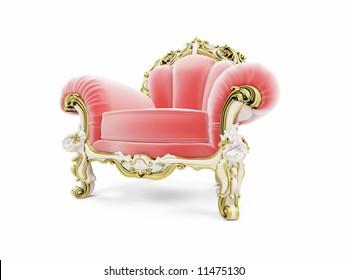 isolated red royal velvet armchair