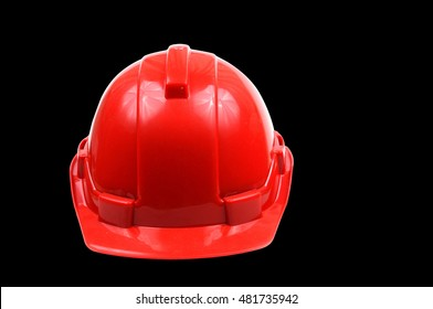 isolated red safety helmet.