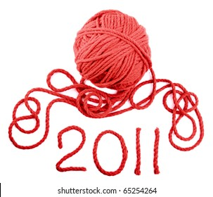 Isolated red skein on a white background