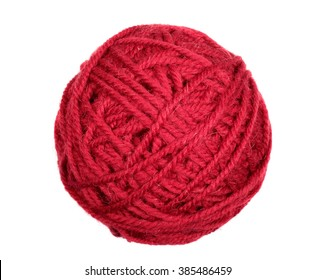 Isolated red skein over white background macro