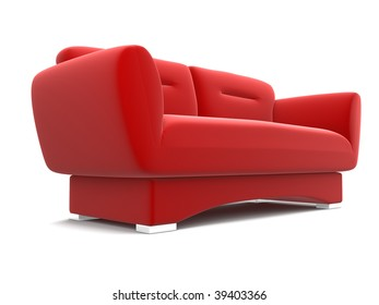 isolated red sofa on white background