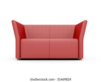 isolated red sofa over white background