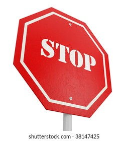 isolated red stop sign on white background