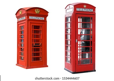 isolated red telephone box on white background