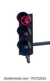 Isolated red traffic light over a white background.