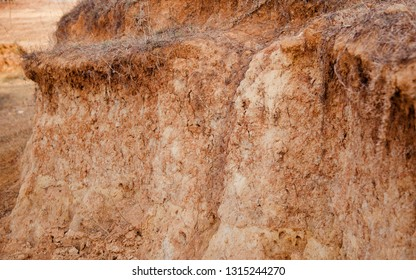 Isolated reddish soil surface around a place unique photo