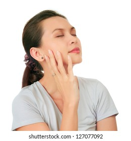 Isolated Relax Facial shot of an asian middle age woman