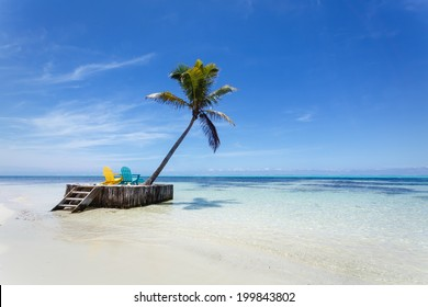 Isolated relaxing tropical paradise beach with white sand, palm tree and two beach chairs waiting for you
