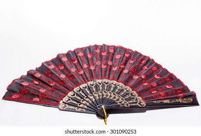 isolated retro hand fan relevance with japanese and anatolian culture
