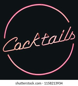 Isolated Retro Pink Neon Cocktails Sign With A Black Background