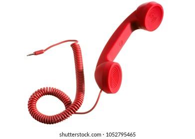 isolated retro telephone handset