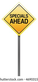 Isolated Road Sign with Specials Ahead