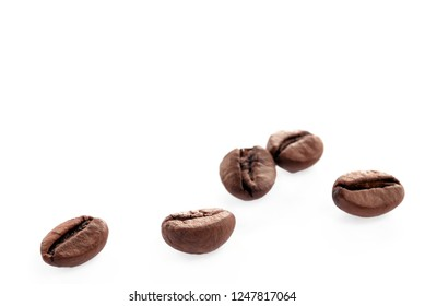 isolated roasted coffee beans