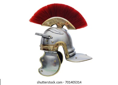 Isolated  Roman Helmet with a scarlet plume on a white background