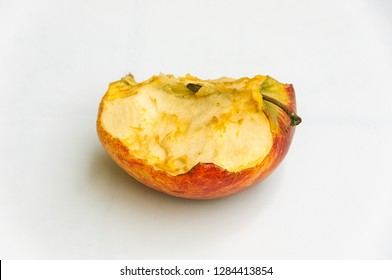 Isolated rotten apple on white background.