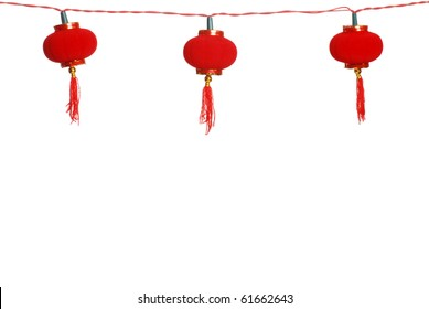 isolated row of Chinese lanterns