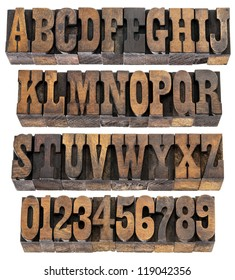 isolated rows of letters and numbers in vintage letterpress wood type blocks, French Clarendon font popular in western movies and memorabilia
