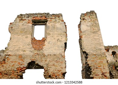 An isolated, run down house ruin (over white background)
