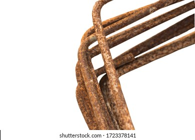 isolated rusted steel bars overlapping