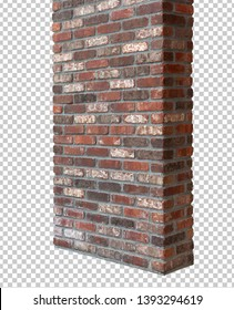 Isolated rustic brick column or pillar wall with clipping path