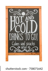 Isolated Rustic Cafe Sign Advertising Hot And Cold Drinks, Cakes and Snacks