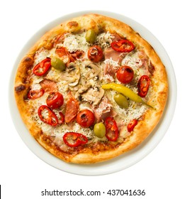 Isolated rustic homemade pizza plate See more pizzas and food