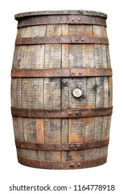 An Isolated Rustic Old Beer, Wine, Whiskey, Rum Or Brandy Barrel Or Cask On A White Background