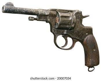 isolated rusty obsolete vintage sixshooter on white background