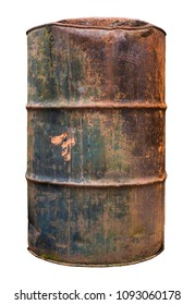 An Isolated Rusty Old Oil Barrel Or Drum On A White Background