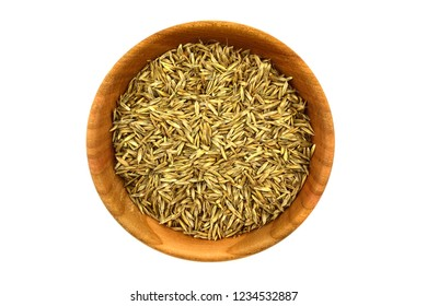 Isolated Ryegrass Seeds (Lolium) in a Bowl.