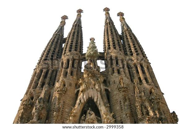 Isolated Sagrada Familia church, Barcelona, Spain