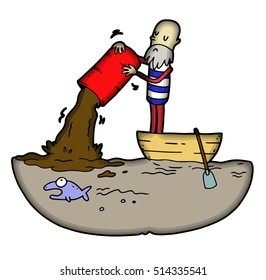 Isolated sailor in boat is pouring from the canister green harmful wastes causing ocean pollution, ecological disasters and animals extinction