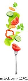 Isolated salad vegetables. Pieces of fresh tomato, cucumber, carrot, bell pepper and lettuce leaves in the air over a fork isolated on white background with clipping path