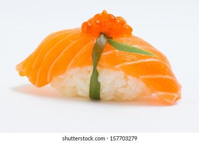 Isolated salmon sushi nigiri with salmon roe