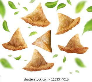 Isolated samosa on white background, Indian delicious spicy snacks, Pakistani famous street food, Iftar meal, Ramadan iftari.