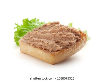 Isolated sandwich with meat pate and fresh lettuce