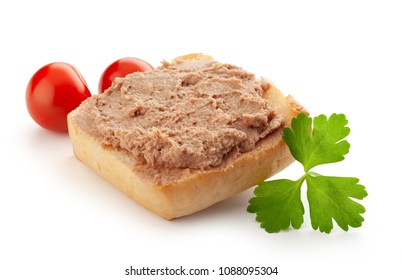 Isolated sandwich with meat pate, tomatoes and leaf of parsley