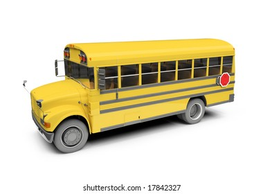 isolated school bus on white background