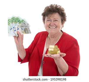 Isolated senior woman with money: concept for pension and heritage.