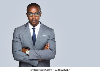 Isolated serious african american business man, lawyer, attorney looking strong and confident