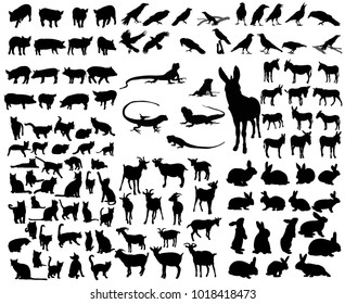 isolated set of animal silhouettes, rabbits, donkeys, jaguars, crows