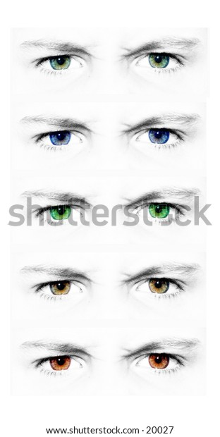 Isolated set of eyes. Five different shades of eye color. Meant to be used as five isolated images.